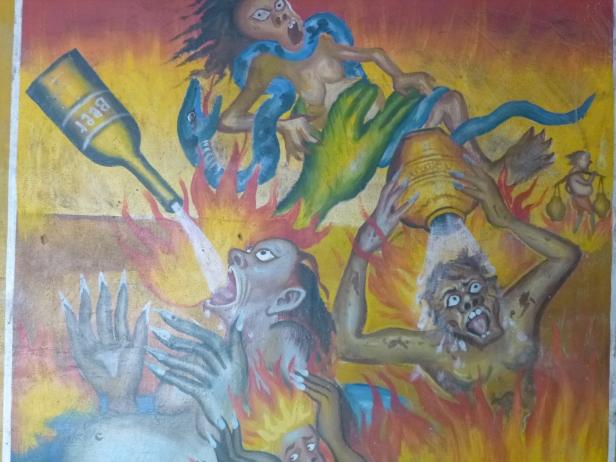 Dipinto murale a Phnom Sombok